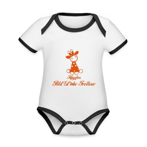 Hayden petit globe trotteur - Body Bébé bio contrasté manches courtes