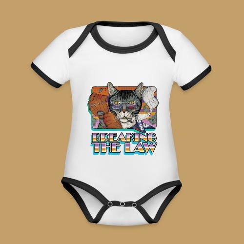 Crime Cat- Breaking the Law - Ekologiczne body niemowlęce z krótkim rękawem i kontrastowymi lamówkami