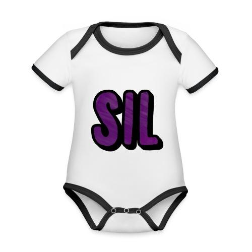 SIL LOGO - Baby contrasterend bio-rompertje met korte mouwen