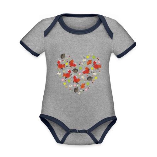 Metikössä - Vauvan kontrastivärinen, lyhythihainen luomu-body