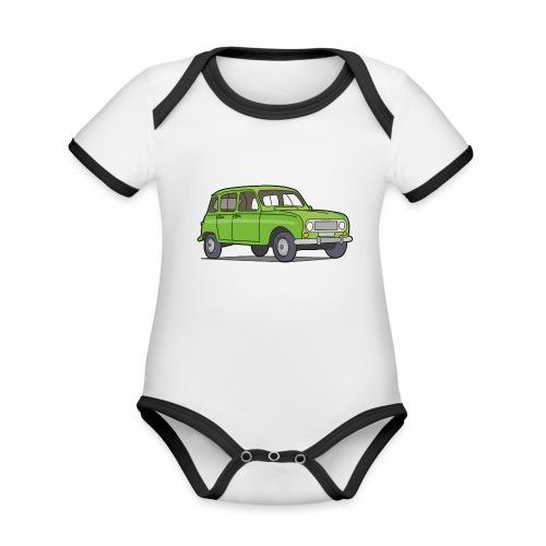 Grüner R4 (Auto) - Baby Bio-Kurzarm-Kontrastbody