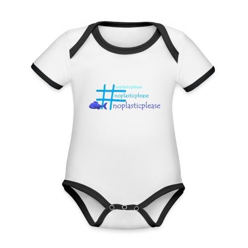 #noplasticplease - Baby contrasterend bio-rompertje met korte mouwen