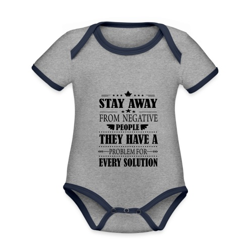 Stay away - Vauvan kontrastivärinen, lyhythihainen luomu-body