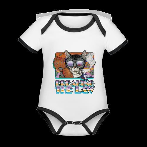 Crime Cat in Shades - Braking the Law - Ekologiczne body niemowlęce z krótkim rękawem i kontrastowymi lamówkami