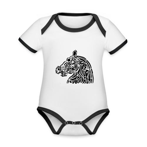 Horse - cheval tribal - Body Bébé bio contrasté manches courtes