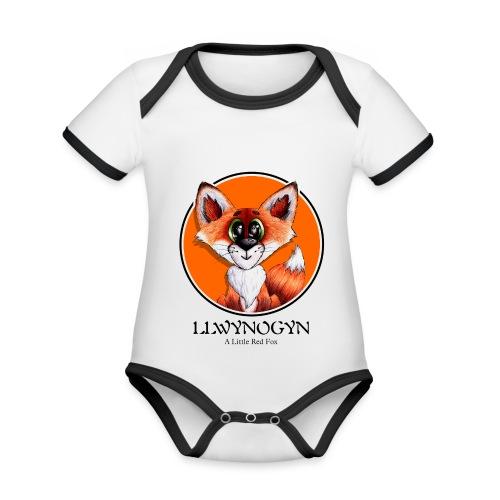 llwynogyn - a little red fox (black) - Vauvan kontrastivärinen, lyhythihainen luomu-body