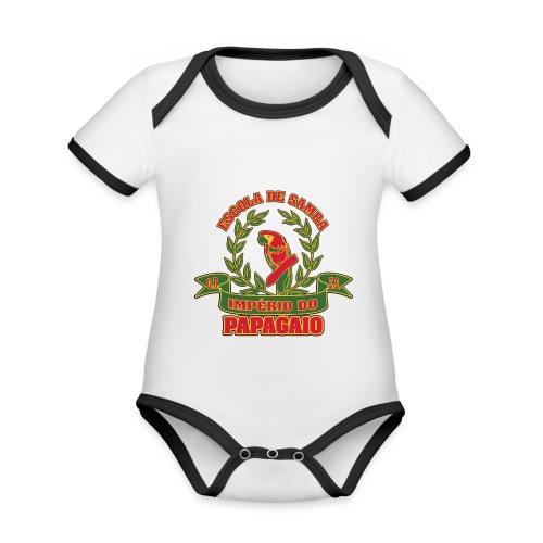 Papagaio logo - Vauvan kontrastivärinen, lyhythihainen luomu-body