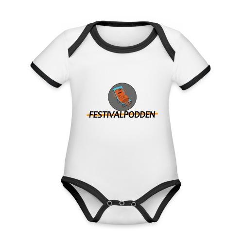 Festivalpodden - Loggorna - Ekologisk kontrastfärgad kortärmad babybody