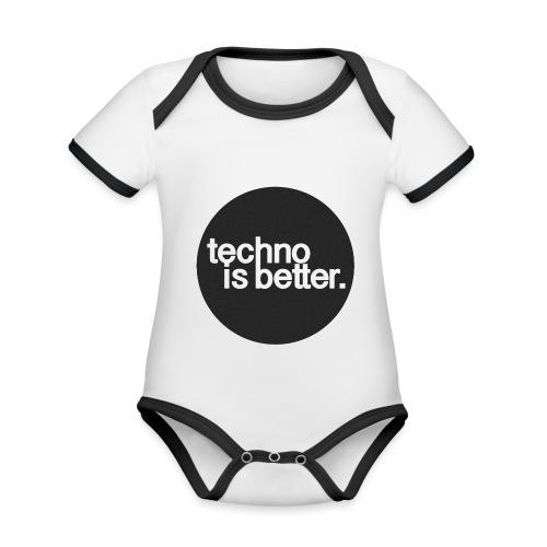 techno is better. - Ekologiczne body niemowlęce z krótkim rękawem i kontrastowymi lamówkami