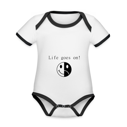 Life goes on - Ekologisk kontrastfärgad kortärmad babybody