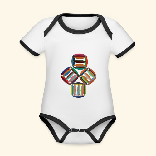 square2square - Baby contrasterend bio-rompertje met korte mouwen