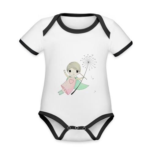 meisje aan uitgebloeide paardenbloem - Baby contrasterend bio-rompertje met korte mouwen