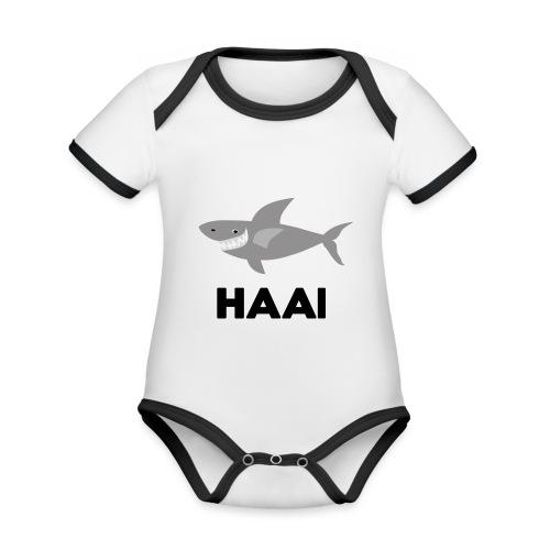 haai hallo hoi - Baby contrasterend bio-rompertje met korte mouwen