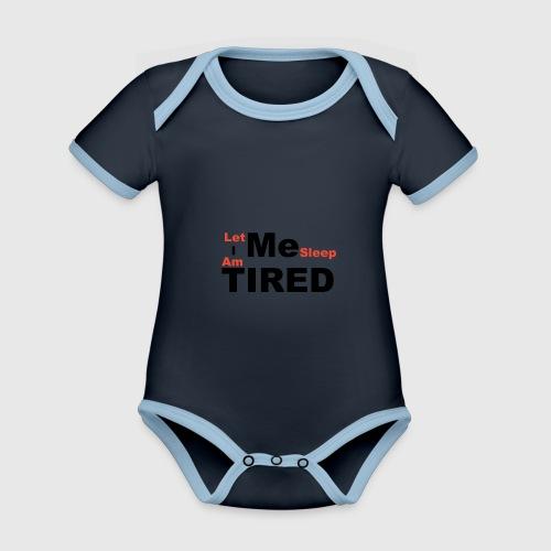 Let Me Sleep. - Baby contrasterend bio-rompertje met korte mouwen