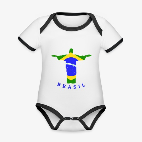Brasil Flag Statue - Baby Bio-Kurzarm-Kontrastbody