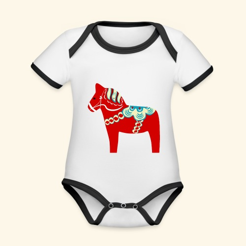 Röd dalahäst - Ekologisk kontrastfärgad kortärmad babybody