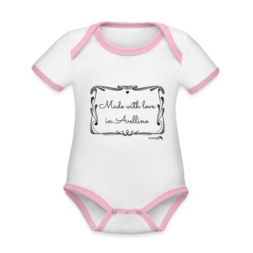 1.04 Fatto con amore ad Avellino - Body da neonato a manica corta, ecologico e in contrasto cromatico