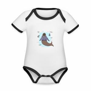 Seebär - Baby Bio-Kurzarm-Kontrastbody
