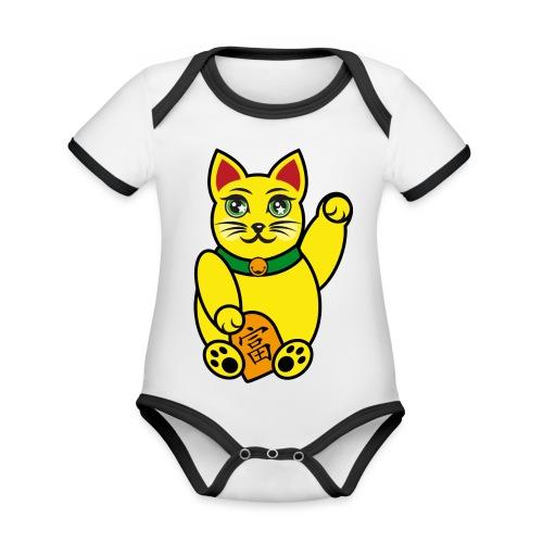 Maneki Neko, Winkekatze farbig - Baby Bio-Kurzarm-Kontrastbody