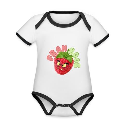 framboos - Baby contrasterend bio-rompertje met korte mouwen