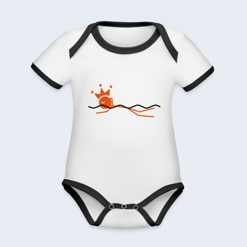 Zwemkoning - Baby contrasterend bio-rompertje met korte mouwen