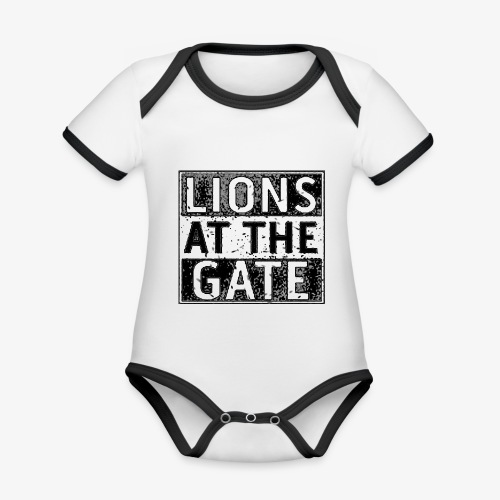 LIONS AT THE GATE BAND LOGO - Baby contrasterend bio-rompertje met korte mouwen