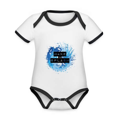 Make a Splash - Aquarell Design in Blau - Baby Bio-Kurzarm-Kontrastbody
