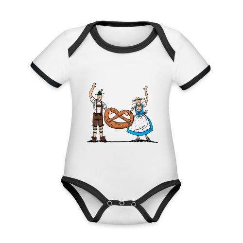 Bayrisches Paar mit Riesenbrezel - Baby Bio-Kurzarm-Kontrastbody