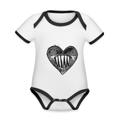 Corazón Negro - Body contraste para bebé de tejido orgánico