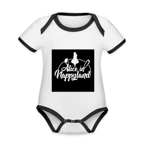 Alice in Nappyland TypographyWhite 1080 - Organic Baby Contrasting Bodysuit