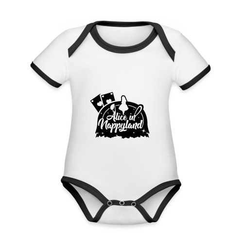 Alice in Nappyland TypographyWhite with background - Organic Baby Contrasting Bodysuit