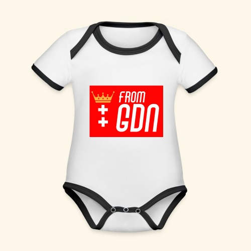 #fromGDN - Ekologiczne body niemowlęce z krótkim rękawem i kontrastowymi lamówkami