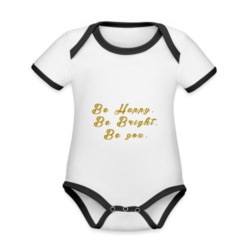 Be happy - Ekologisk kontrastfärgad kortärmad babybody