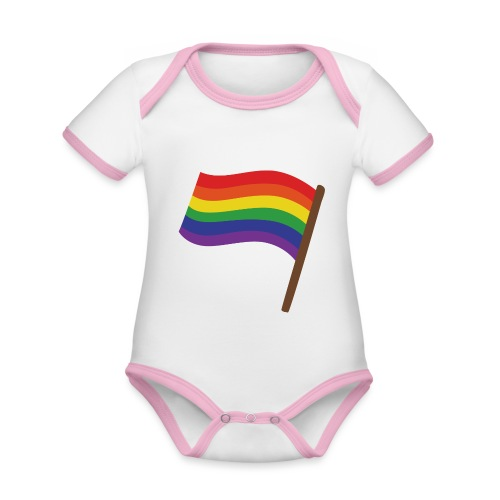 Regenbogenfahne | Geschenk Idee | LGBT - Baby Bio-Kurzarm-Kontrastbody