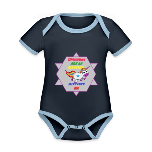 Unicorn with joke - Organic Baby Contrasting Bodysuit