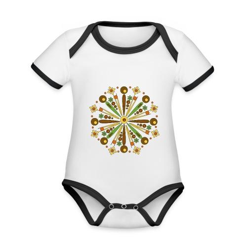 Mandala Herfst - Baby contrasterend bio-rompertje met korte mouwen