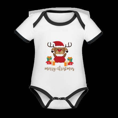 Merry Christmas - Baby Bio-Kurzarm-Kontrastbody
