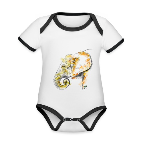 Elephant 2 color - Body da neonato a manica corta, ecologico e in contrasto cromatico