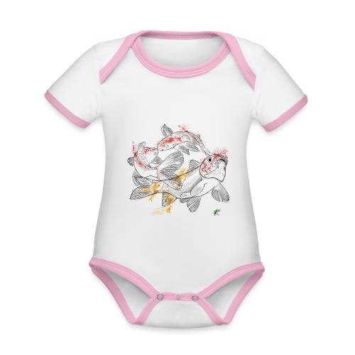 Carpa koi color - Body da neonato a manica corta, ecologico e in contrasto cromatico