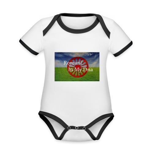 flagromaniinmydna - Ekologisk kontrastfärgad kortärmad babybody