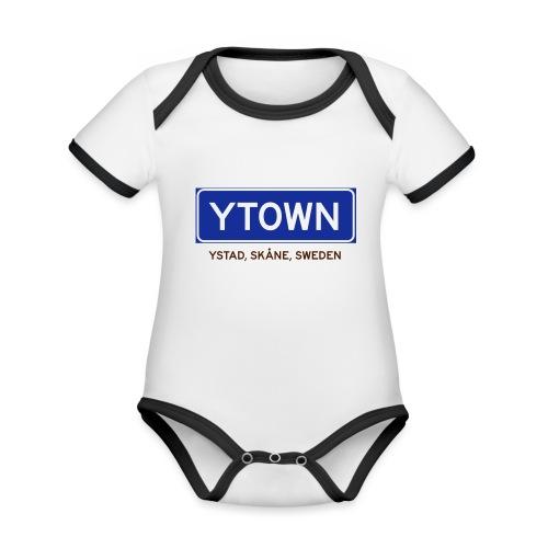 Ystad, Badly Translated - Ekologisk kontrastfärgad kortärmad babybody