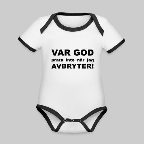 Var God Prata Inte - Ekologisk kontrastfärgad kortärmad babybody