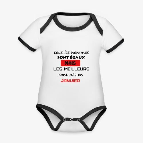 les meilleurs sont nés en janvier - Body Bébé bio contrasté manches courtes