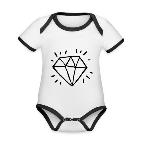 diamant - Body Bébé bio contrasté manches courtes