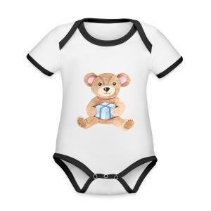 Baby Bib Teddy bear with gift - Organic Baby Contrasting Bodysuit