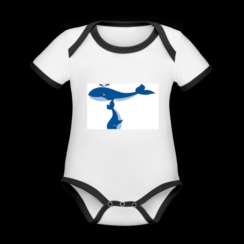whale t - Organic Baby Contrasting Bodysuit
