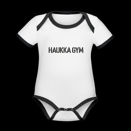 HAUKKA GYM text - Vauvan kontrastivärinen, lyhythihainen luomu-body