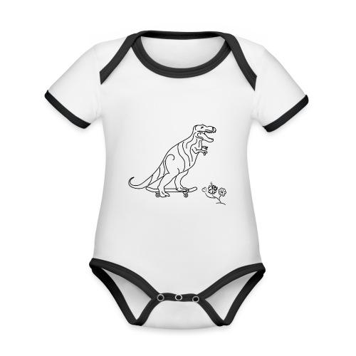 SK8-Rex-schwarz - Baby Bio-Kurzarm-Kontrastbody