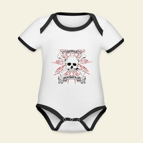 skull - Kortærmet økologisk babybody i kontrastfarver