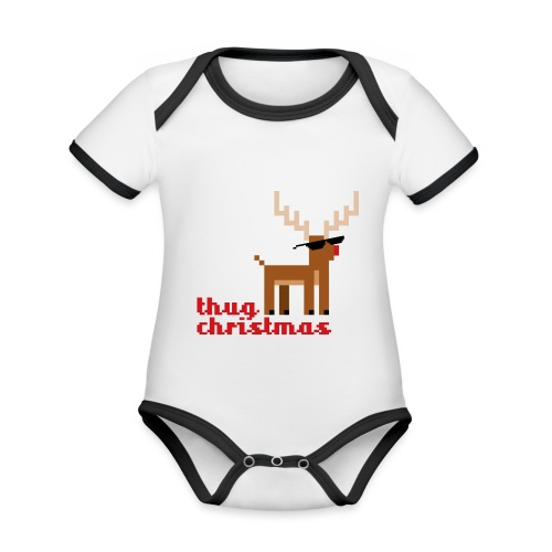 Rudolph the Red Nosed Reindeer Pixel - Organic Baby Contrasting Bodysuit